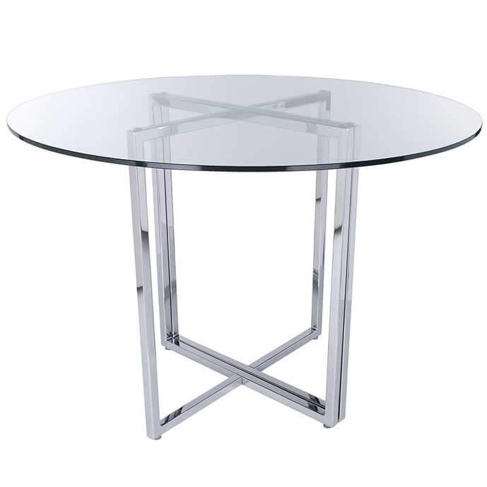 Legend Modern Dining Table Base Chrome Intended For Chrome Dining Sets (Image 15 of 25)