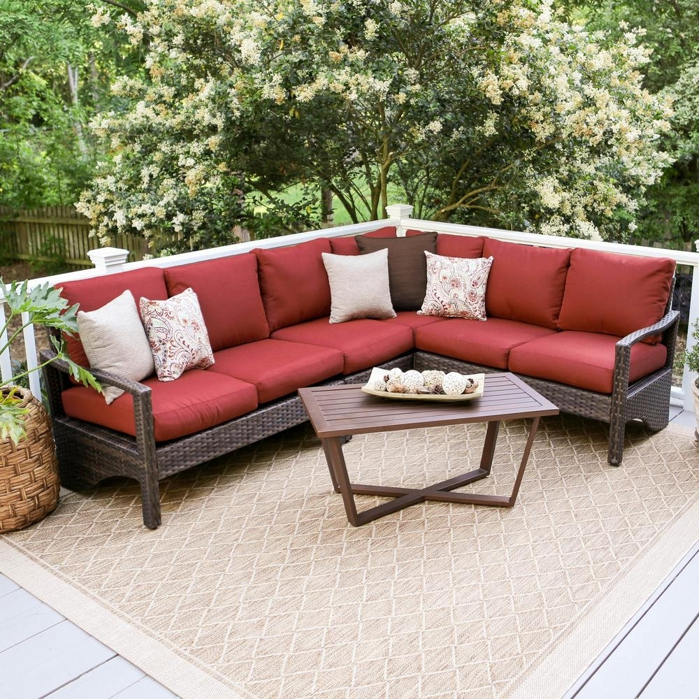 Leisure Made Augusta 5 Piece Wicker Outdoor Sectional Set With Red For Haven Blue Steel 3 Piece Sectionals (View 24 of 25)