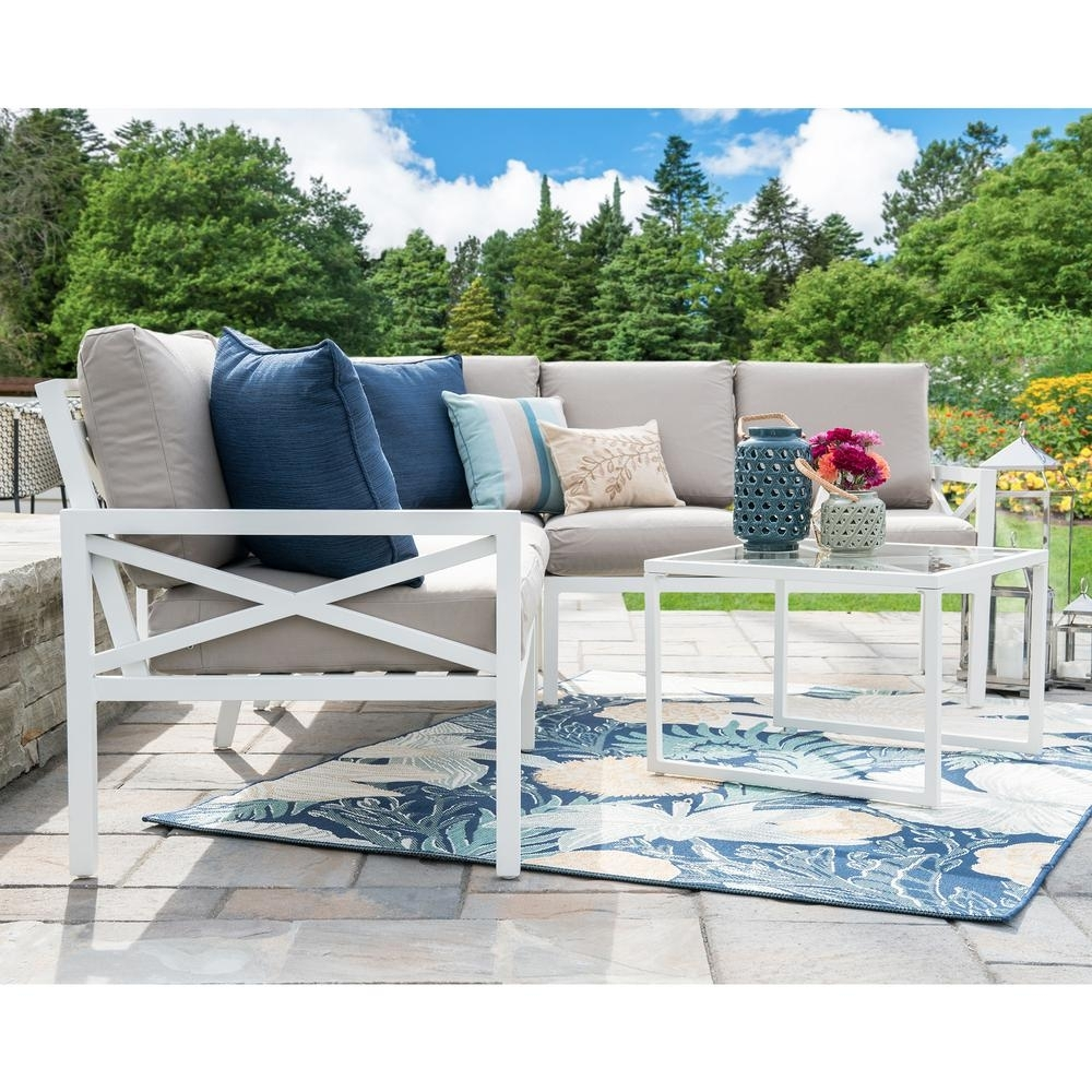 Leisure Made Blakely White 5 Piece Aluminum Outdoor Sectional Set With Haven Blue Steel 3 Piece Sectionals (Image 20 of 25)