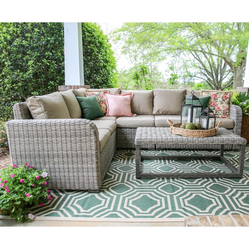 Leisure Made Forsyth 5 Piece Wicker Outdoor Sectional Set With Tan Throughout Haven Blue Steel 3 Piece Sectionals (Image 21 of 25)