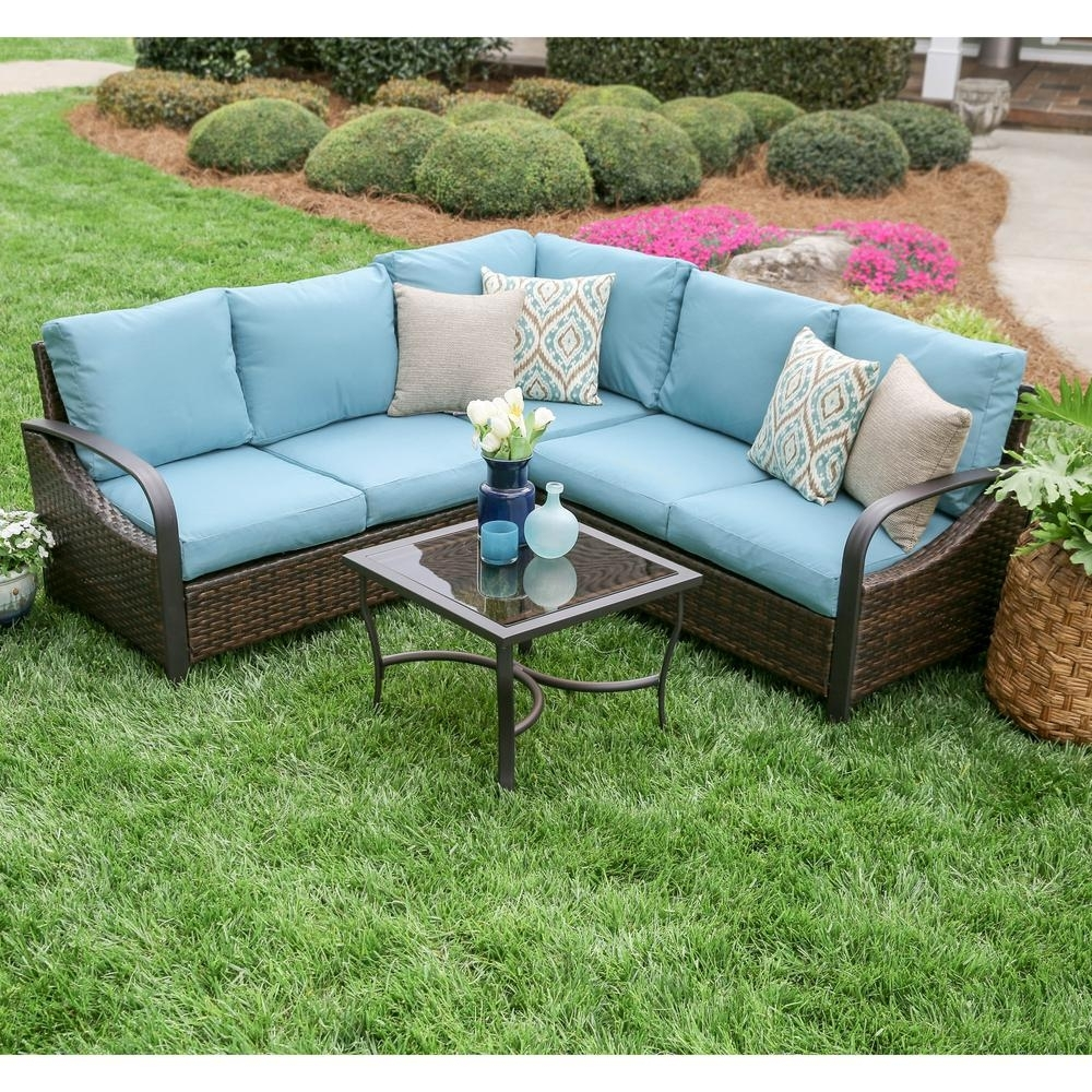 Leisure Made Trenton 4 Piece Wicker Outdoor Sectional Set With Blue Pertaining To Haven Blue Steel 3 Piece Sectionals (Image 22 of 25)