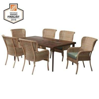 Lemon Grove – Hampton Bay – Patio Furniture – Outdoors – The Home Depot Throughout Leon 7 Piece Dining Sets (View 20 of 25)