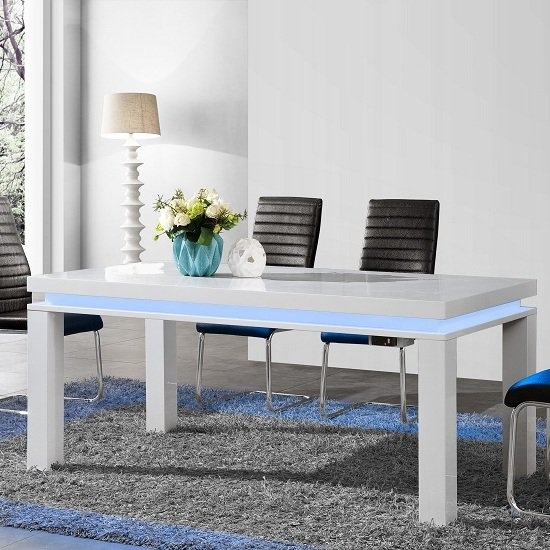 Lenovo Dining Table In White High Gloss With Led Lights Intended For Led Dining Tables Lights (Image 20 of 25)