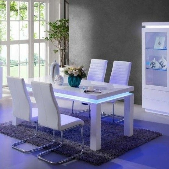Lenovo High Gloss Dining Table In White With Led Lights   Home Decor With Regard To Dining Tables With Led Lights (Image 19 of 25)