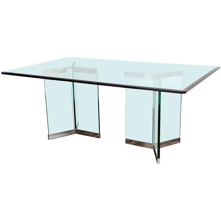 Leon Rosen, Pace Collection Rectangular Polished Chrome And Glass Regarding Leon Dining Tables (View 14 of 25)