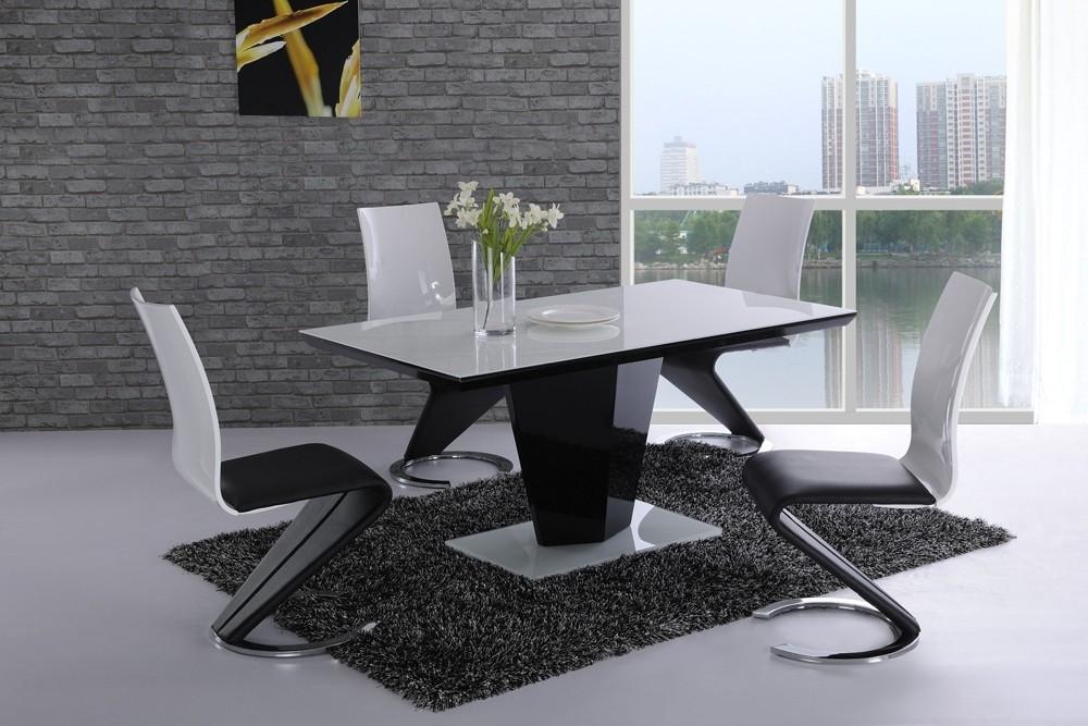 Leona Black High Gloss White Glass Designer Dining Table – £ (Image 16 of 25)