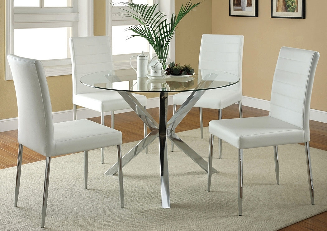 Leonardo Furniture – Rockville Center, Ny Glass Top Dining Table W/4 For Glass And Chrome Dining Tables And Chairs (View 25 of 25)