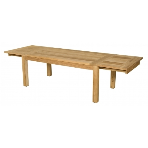Les Jardins Double Extending Outdoor Teak Dining Table | 190 – 300Cm In Extending Outdoor Dining Tables (Image 16 of 25)