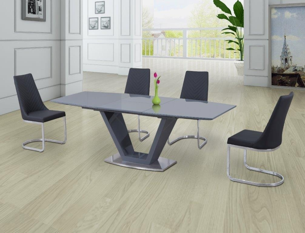 Levanto Grey Extending Dining Table With 6 Corona Grey Chairs Intended For Grey Dining Tables (Image 15 of 25)