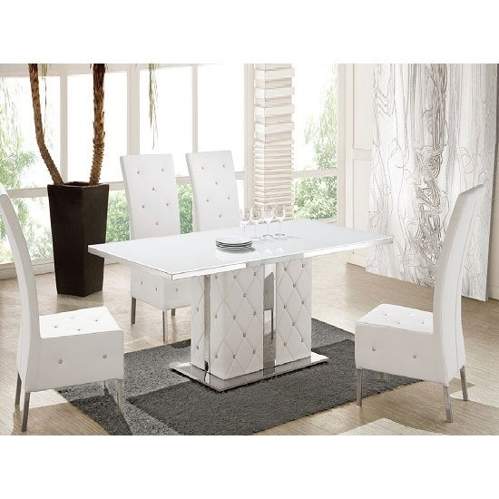 Levo Glass Dining Table In And White Gloss With 4 Asam Within White Gloss And Glass Dining Tables (Image 13 of 25)
