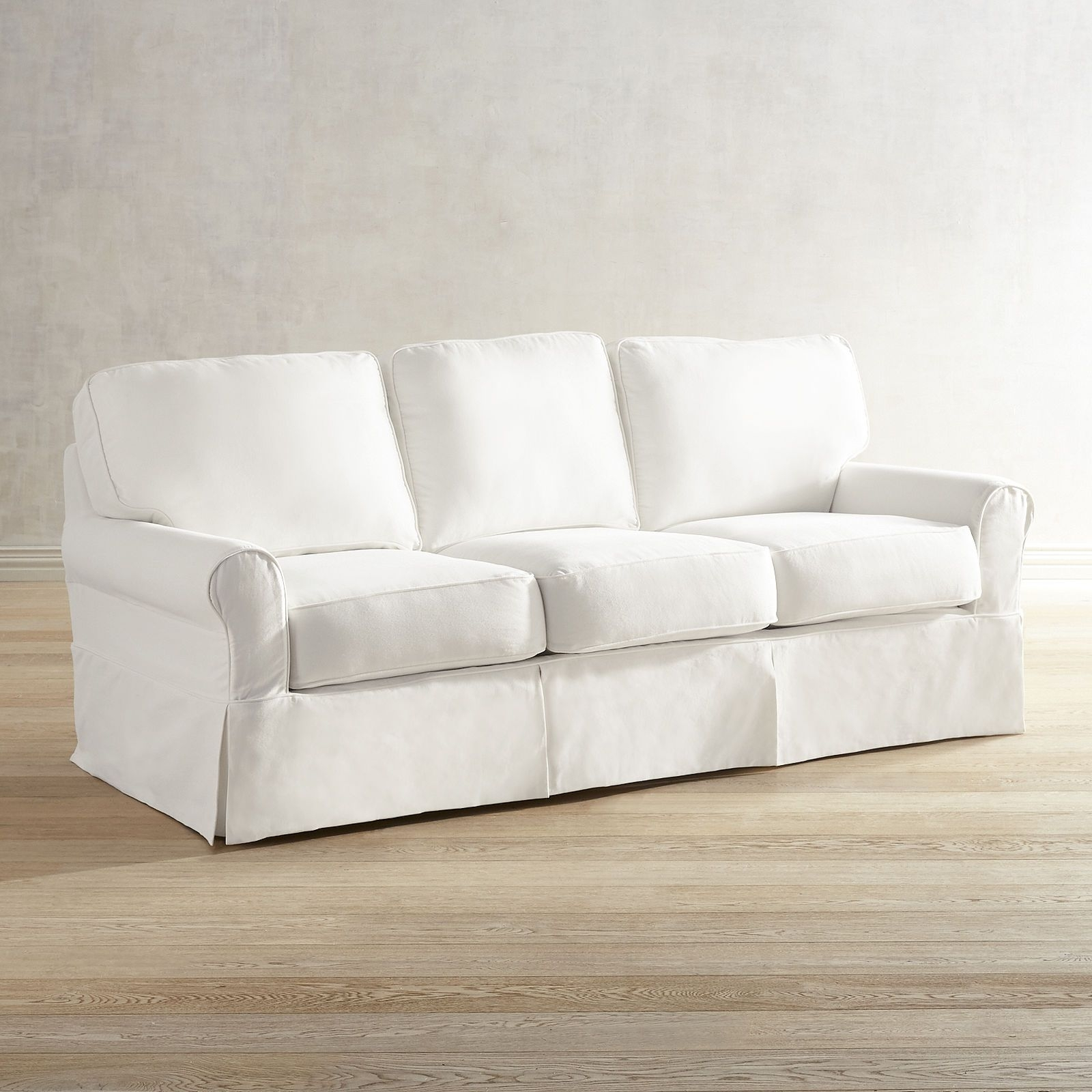 Lia Pierformance™ White Slipcovered Sofa | F U R N I T U R E Within London Optical Reversible Sofa Chaise Sectionals (View 13 of 25)