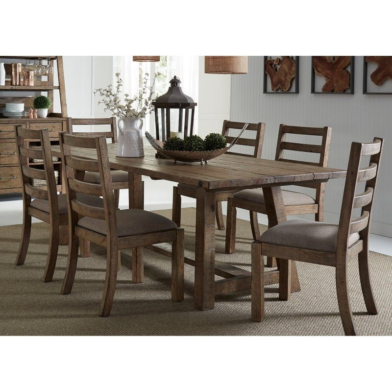 Liberty Furniture Prescott Valley 7 Piece Trestle Dining Table Set With Regard To Candice Ii 7 Piece Extension Rectangular Dining Sets With Slat Back Side Chairs (View 5 of 25)