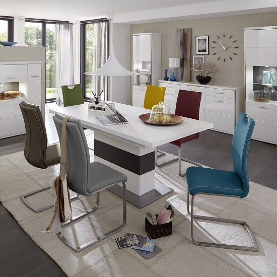 Libya Extendable Dining Table In White With 8 Paulo Chairs In Extending Dining Table And Chairs (Image 19 of 25)
