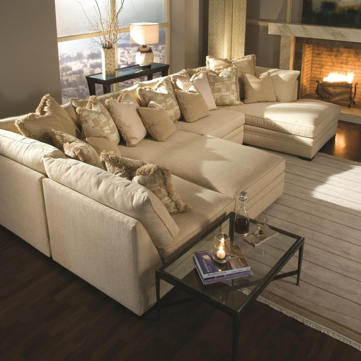 Light Brown Sectional Fabric Sofa With Two Chaise Lounge And Piles In Travis Dk Grey Leather 6 Piece Power Reclining Sectionals With Power Headrest & Usb (Image 12 of 25)