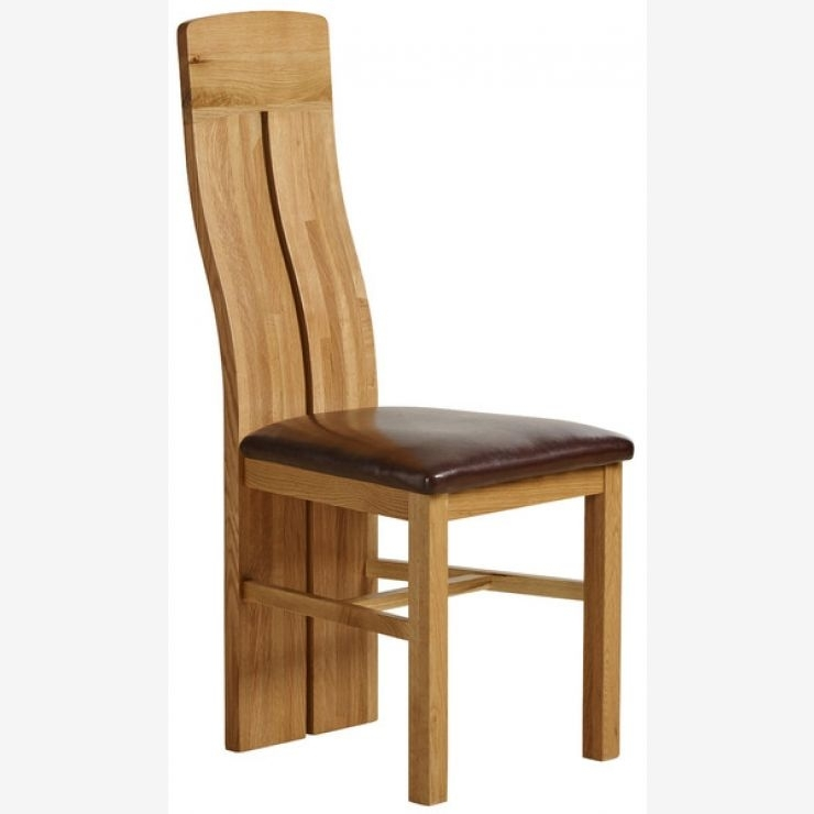 Lily Natural Solid Oak Dining Chair – Brown Leather Throughout Oak Leather Dining Chairs (Image 14 of 25)