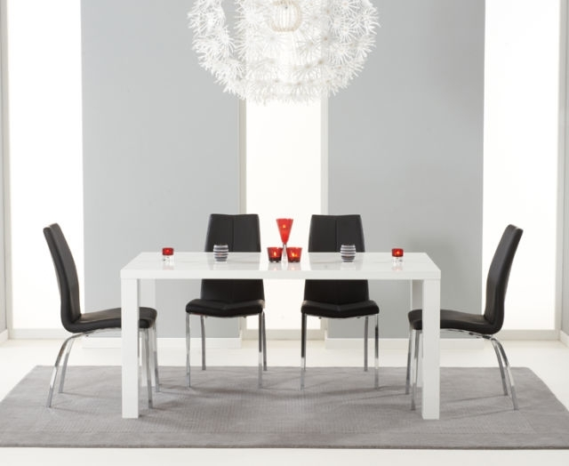 Lisbon 160Cm High Gloss Furniture Black 8 Seater Dining Table Chair With Regard To Black 8 Seater Dining Tables (Image 20 of 25)