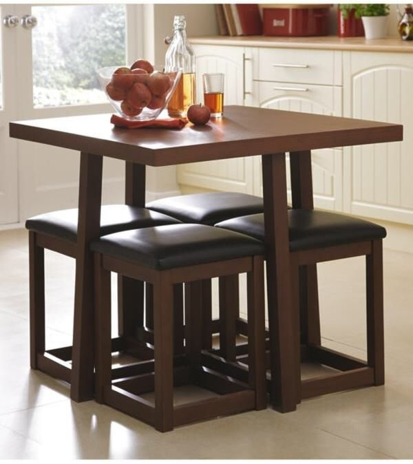 Littlewoods Thornton Compact Dining Table – 4 Stools | Hideaway For Compact Dining Tables (Image 20 of 25)