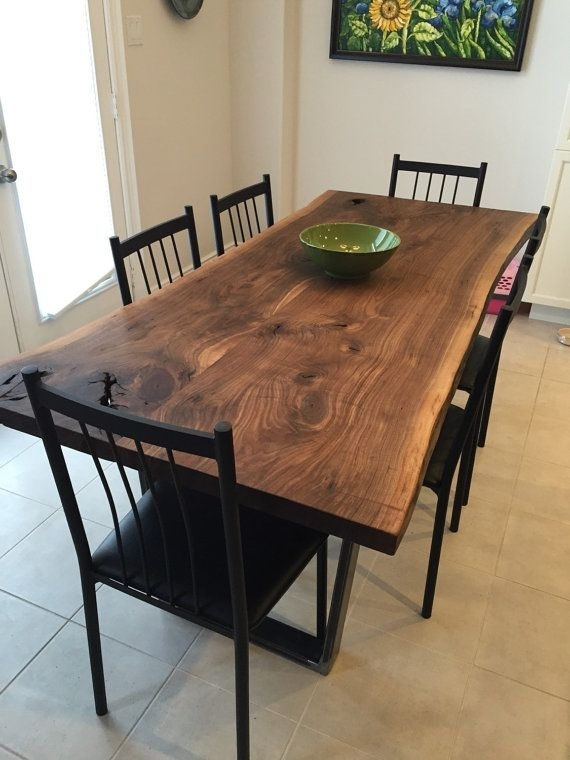 "Live Edge Black Walnut Dining Table With 1X3"" Trapezoid Legs – Live With Walnut Dining Tables (Image 12 of 25)"