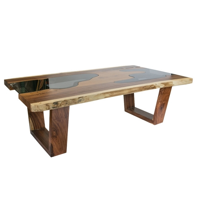 Live Edge Solid Wood Slab Dining Table With Glass Inserts Throughout Wood Glass Dining Tables (Image 18 of 25)