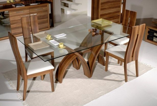 Living Room Dining Table With Glass On The Floor Classic Wood Chairs Inside Shiny White Dining Tables (Image 21 of 25)