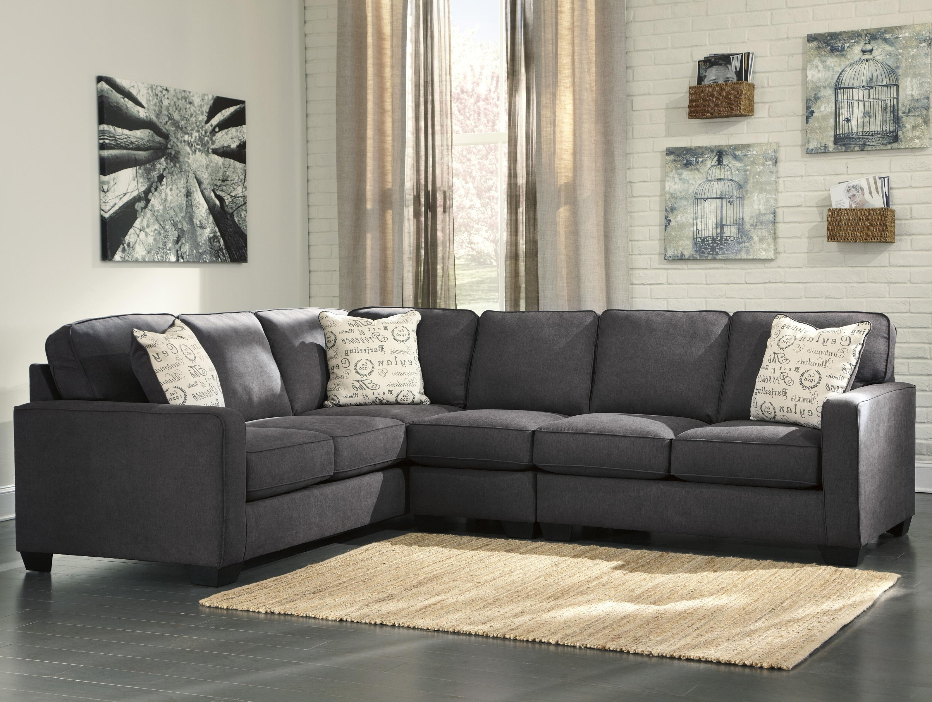 Living Room: Elegant Ashley Leather Sectional Sofa For Comfortable Throughout Lucy Dark Grey 2 Piece Sectionals With Laf Chaise (Image 13 of 25)