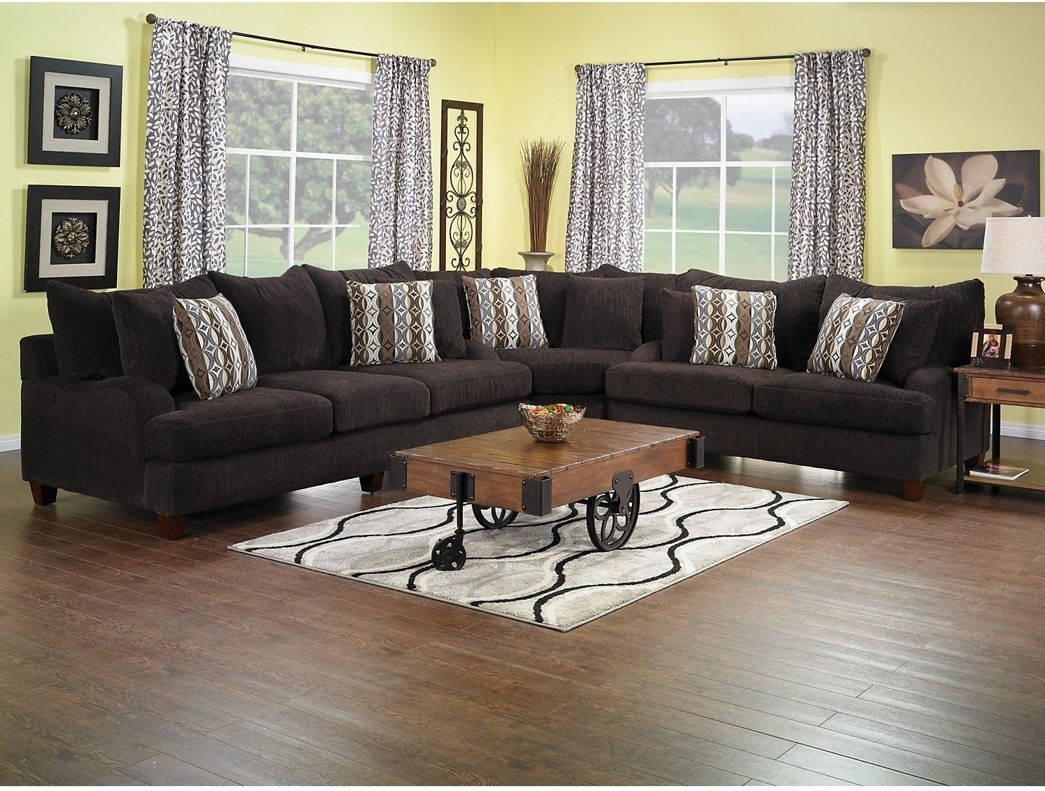 Living Room Furniture – Putty Chenille Sectional – Chocolate Within Marius Dark Grey 3 Piece Sectionals (Image 10 of 25)