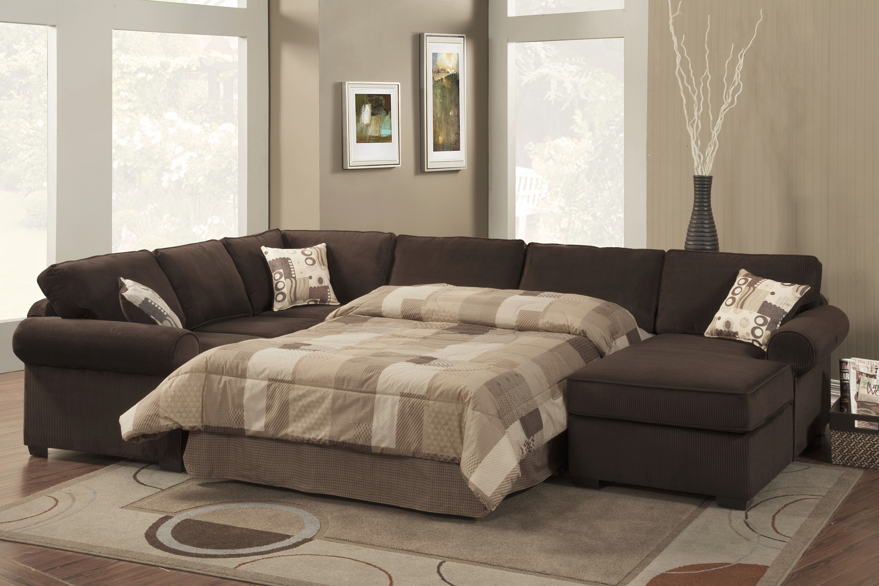 Living Room: Incredible Leather Sectional Sleeper Sofa With Chaise Inside Aspen 2 Piece Sleeper Sectionals With Laf Chaise (Image 13 of 25)
