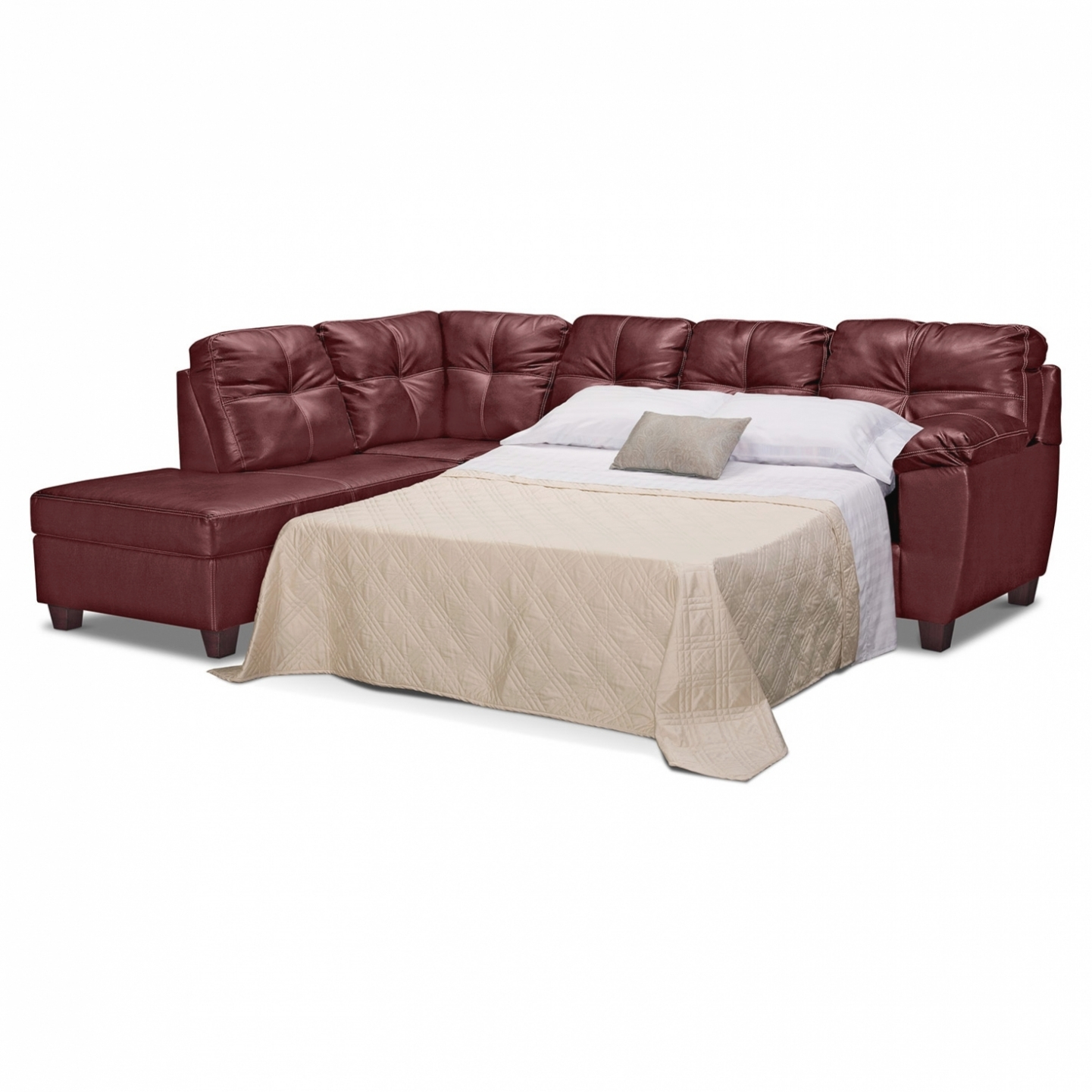 Living Room: Interior Decor: Likeable Leather Sofa Sleepers Full Throughout Aspen 2 Piece Sleeper Sectionals With Laf Chaise (Image 14 of 25)
