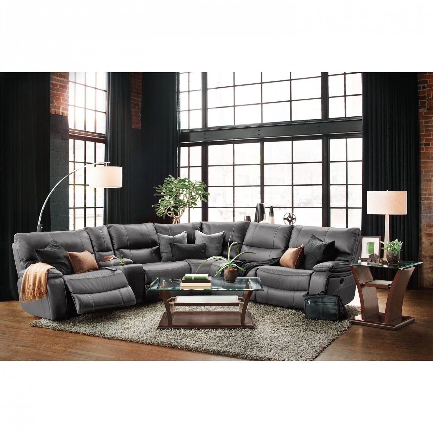 Living Room: Orlando 6 Piece Power Reclining Sectional With 1 With Calder Grey 6 Piece Manual Reclining Sectionals (Image 20 of 25)