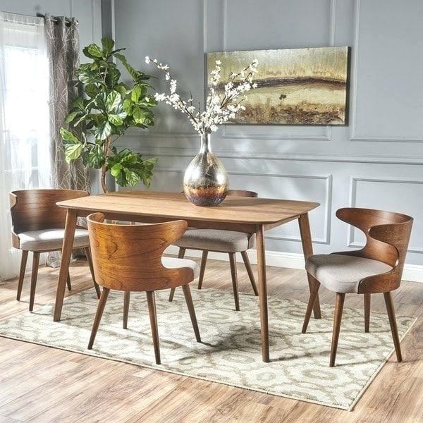 Living Spaces Dining Sets Mid Century 5 Piece Rectangular Wood for Chandler 7 Piece Extension Dining Sets With Wood Side Chairs
