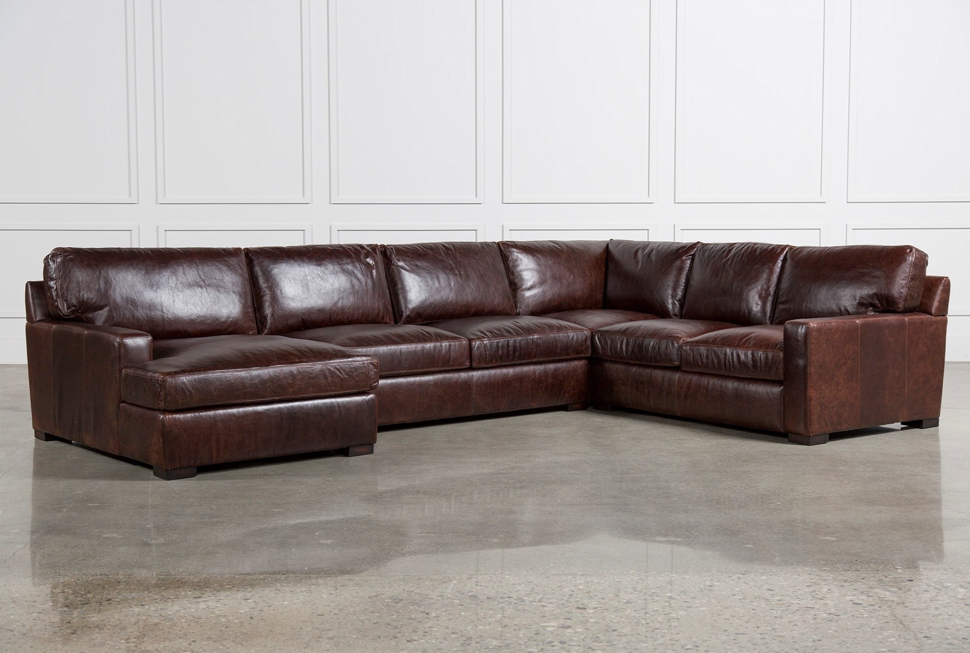 Living Spaces Leather Sectional – Implantologiabogota (View 3 of 25)