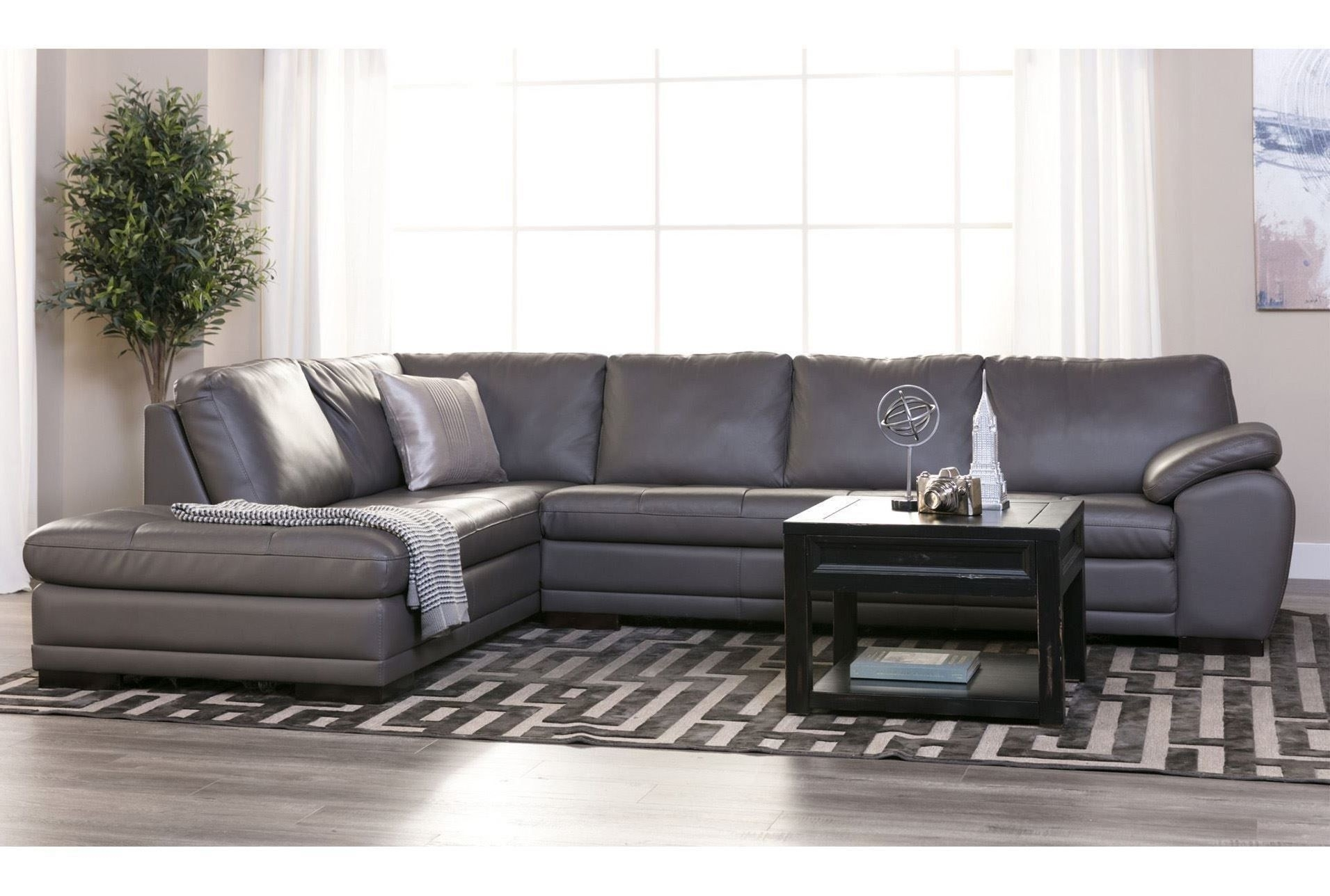 Living Spaces Leather Sectional Tatum Dark Grey 2 Piece W Raf Chaise Regarding Tatum Dark Grey 2 Piece Sectionals With Laf Chaise (Image 13 of 25)