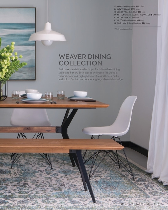 Living Spaces – Product Catalog – Spring 2017 – Weaver Dining Table Within Weaver Ii Dining Tables (View 23 of 25)