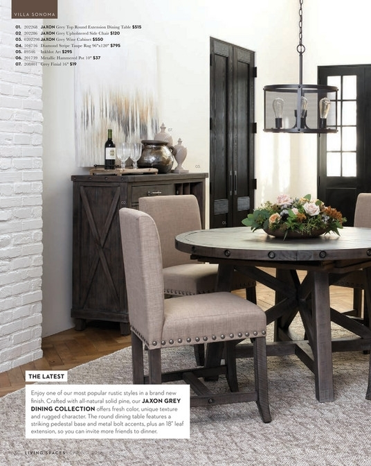 Living Spaces – Spring 2018 – Jaxon Grey Round Extension Dining Table In Jaxon Grey Round Extension Dining Tables (Image 18 of 25)
