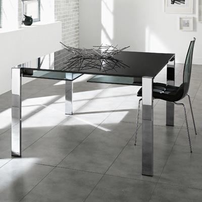 Livingstone 120Cm Black Glass Square Extending Dining Table In Black Extending Dining Tables (Image 16 of 25)
