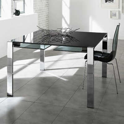 Livingstone 120Cm Black Glass Square Extending Dining Table Pertaining To Square Black Glass Dining Tables (View 9 of 25)