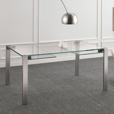 Livingstone 160Cm Extraclear Glass Extending Dining Table Inside Glass Extending Dining Tables (Image 15 of 25)