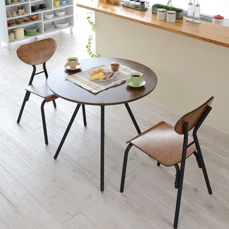 Livingut: Table Chair 3-Piece Set Cafe Vintage Dining Table (Iron intended for Retro Dining Tables