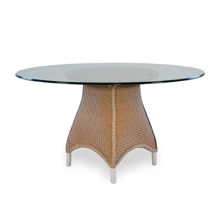 Lloyd Flanders Mandalay 54 Inch Round Wicker Dining Table With Glass Throughout Wicker And Glass Dining Tables (Image 8 of 25)