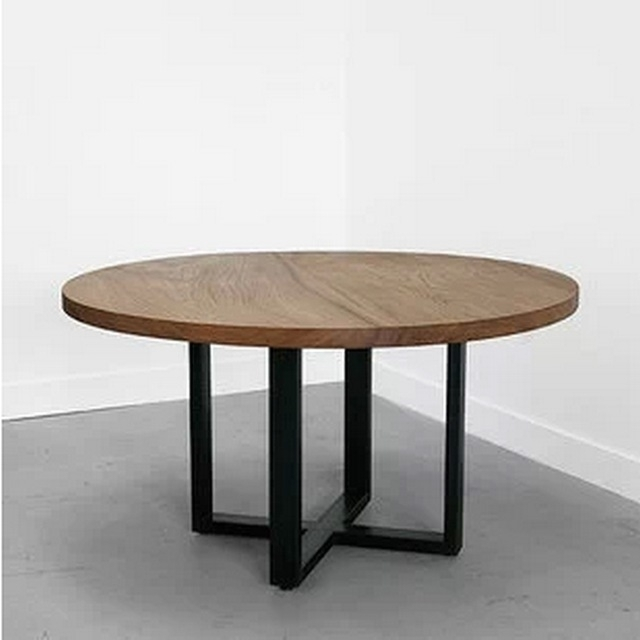 Loft Wood Dining Table Large Circle Round Table Dinner Tables In Large Circular Dining Tables (Image 22 of 25)