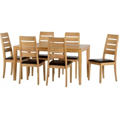 Logan 1+6 Dining Set In Oak Varnish/brown Faux Leather – Adams Regarding Logan 6 Piece Dining Sets (Image 9 of 25)
