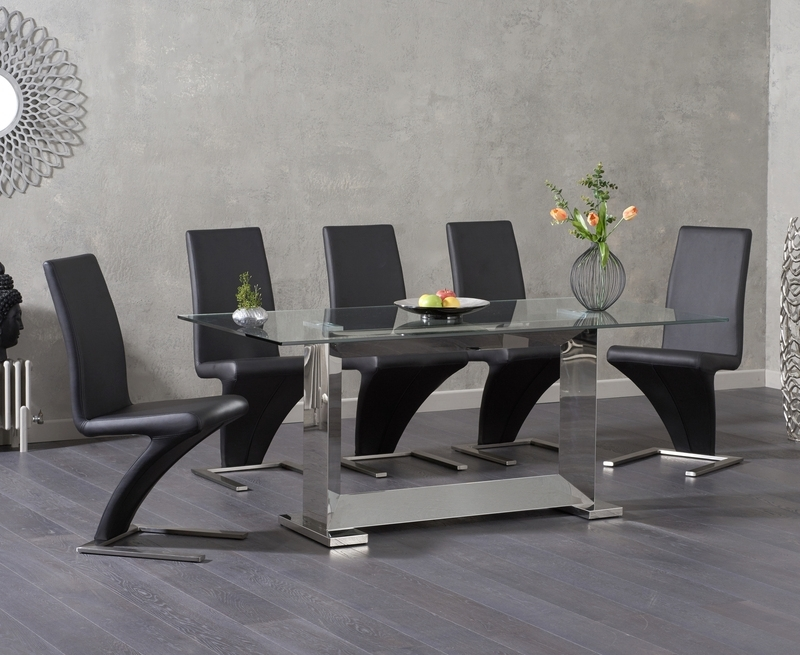 Logan 180Cm Glass Dining Table +6 Hereford Black Chairs [311015 Regarding Logan 6 Piece Dining Sets (Image 12 of 25)