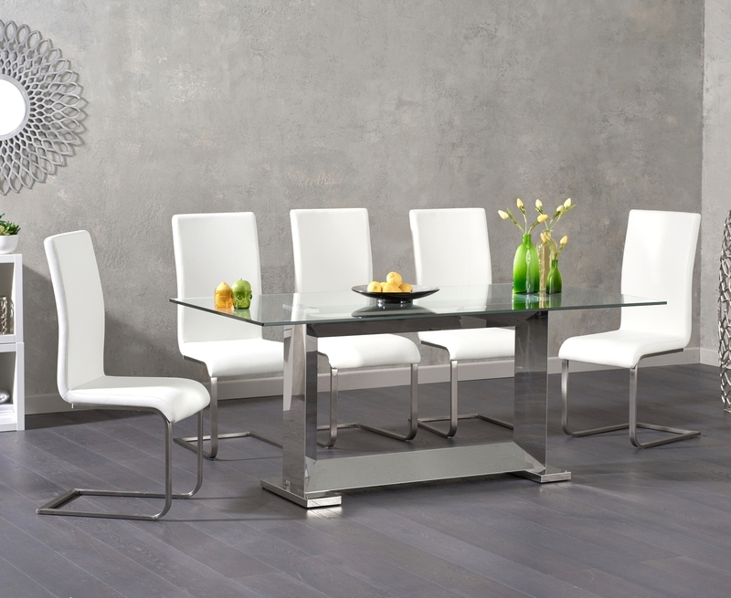 Logan 180Cm Glass Dining Table +6 Malibu White Chairs [311014 In Logan 6 Piece Dining Sets (Image 13 of 25)