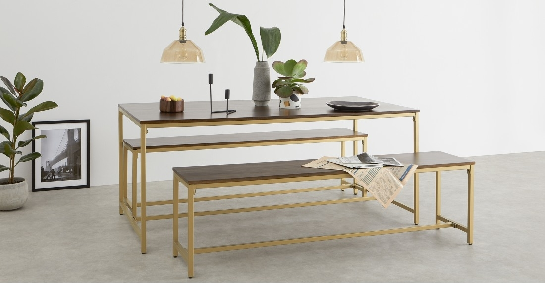 Lomond Dining Table And 2 Benches Set, Mango Wood And Brass | Made Throughout Mango Wood/iron Dining Tables (View 22 of 25)