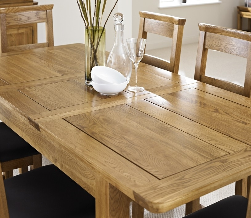 London Dark Oak Extending Dining Table With Four Chairs – Package For Oak Extending Dining Sets (Image 13 of 25)