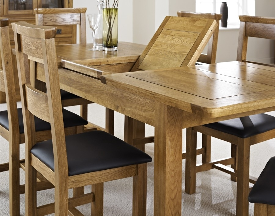 London Dark Oak Extending Dining Table With Four Chairs – Package Intended For Oak Extending Dining Tables Sets (Image 16 of 25)
