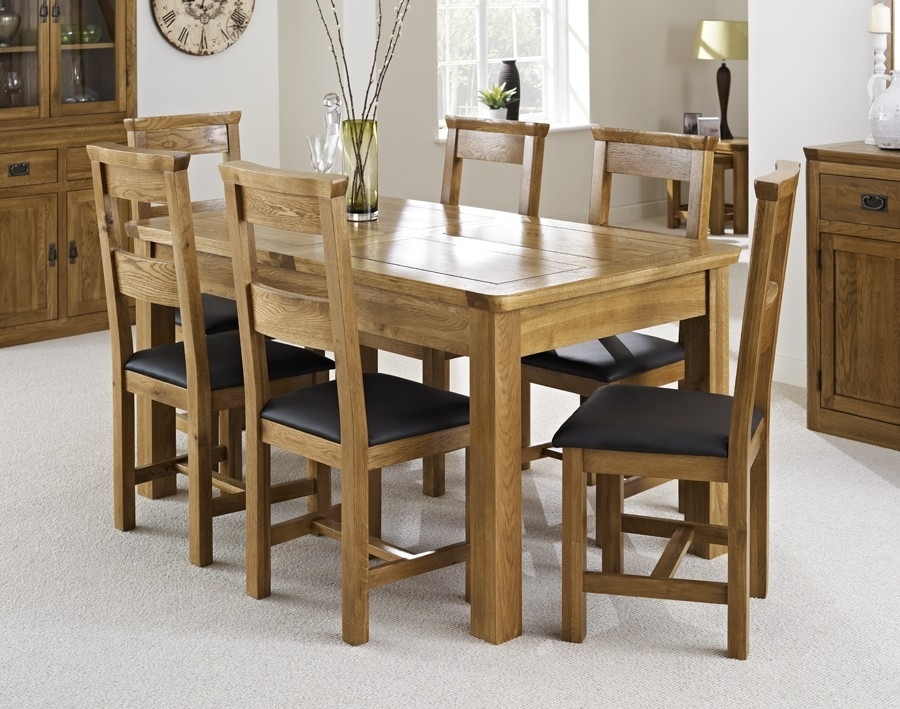 London Dark Oak Extending Dining Table With Six Chairs – Package Pertaining To London Dining Tables (Image 15 of 25)
