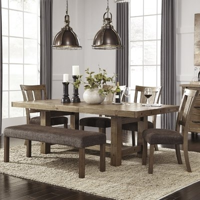 Loon Peak Etolin 6 Piece Extendable Dining Set | Birch Lane For Dining Sets (Image 22 of 25)