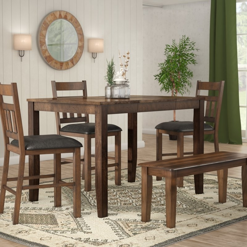 Loon Peak Osborne Square Gather Height Extendable Dining Table | Wayfair With Square Extendable Dining Tables (Image 11 of 25)