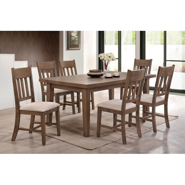 Loon Peak Seymour 7 Piece Dining Set | Wayfair Intended For Caira Black 7 Piece Dining Sets With Upholstered Side Chairs (Image 16 of 25)